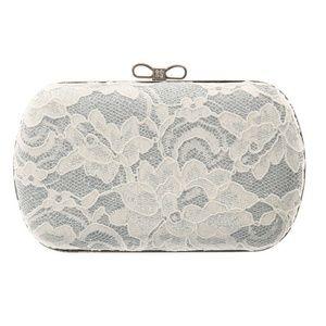 Claire's White Floral Lace Box Clutch